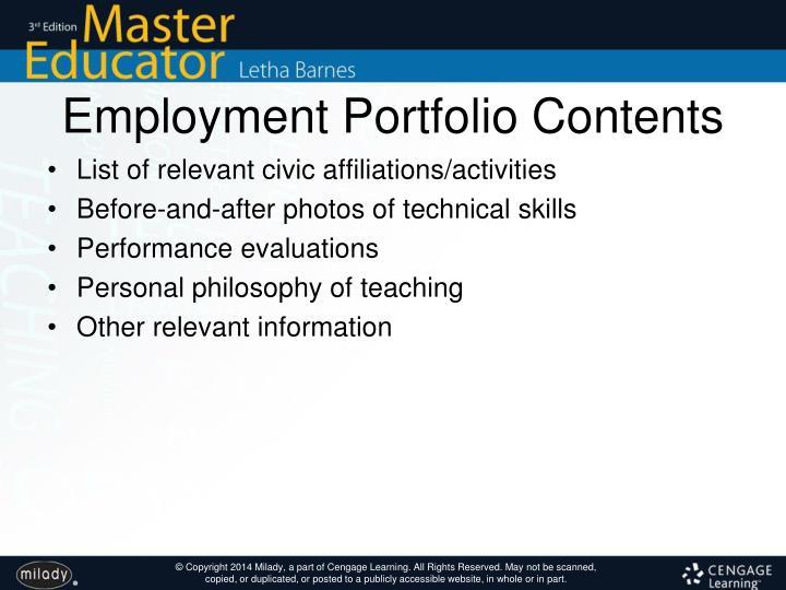 Employment Portfolio Contents