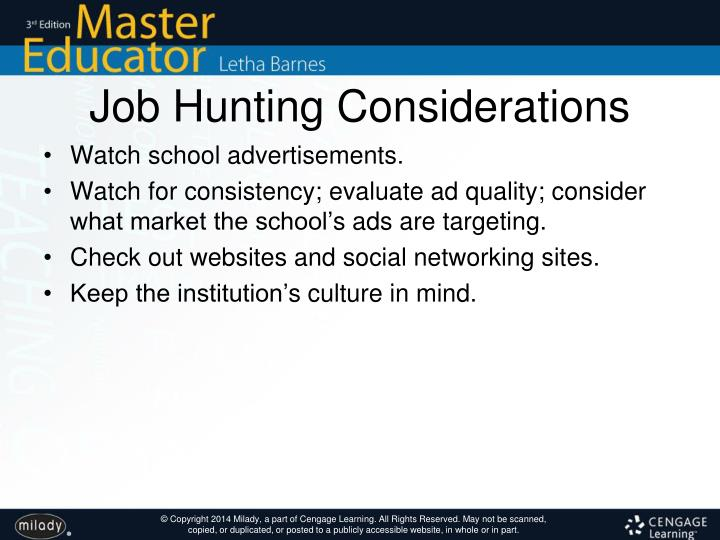 Job Hunting Considerations