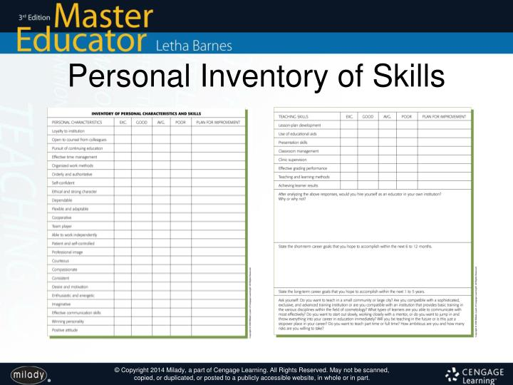 Personal Inventory of Skills