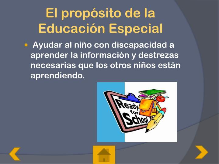 El propósito de la Educación Especial
