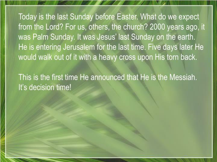Today is the last Sunday before Easter. What do we expect from the Lord? For us, others, the church? 2000 years ago, it was Palm Sunday. It was Jesus' last Sunday on the earth. He is entering Jerusalem for the last time. Five days later He would walk out of it with a heavy cross upon His torn back.