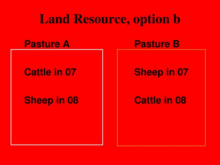Land Resource, option b