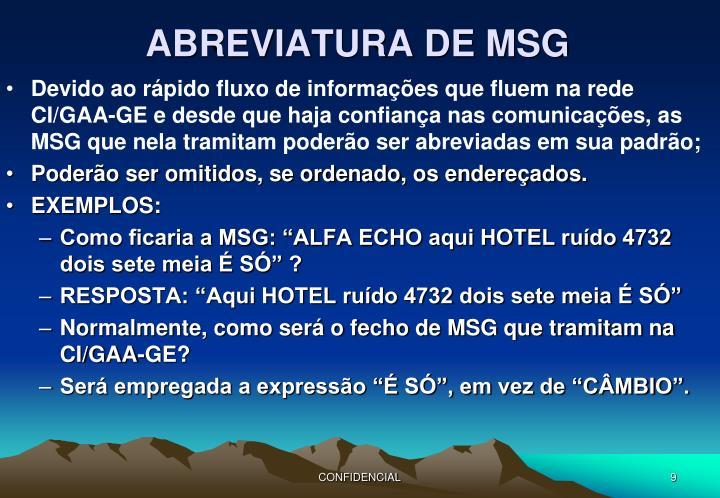 ABREVIATURA DE MSG