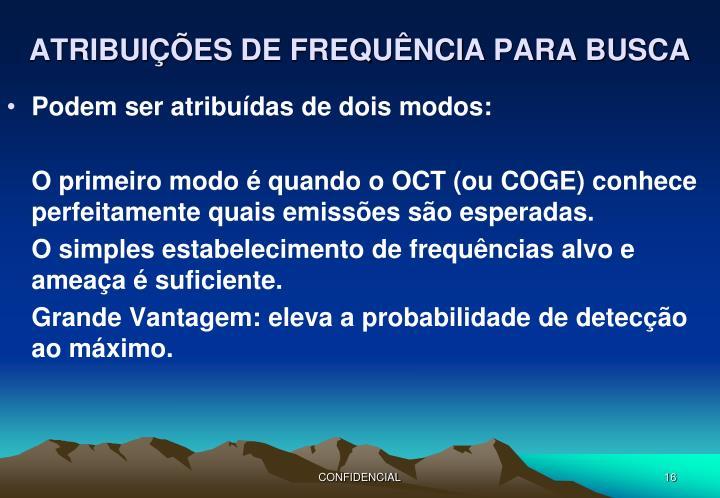 ATRIBUIÇÕES DE FREQUÊNCIA PARA BUSCA