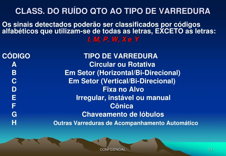 CLASS. DO RUÍDO QTO AO TIPO DE VARREDURA