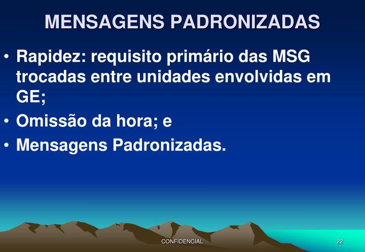 MENSAGENS PADRONIZADAS