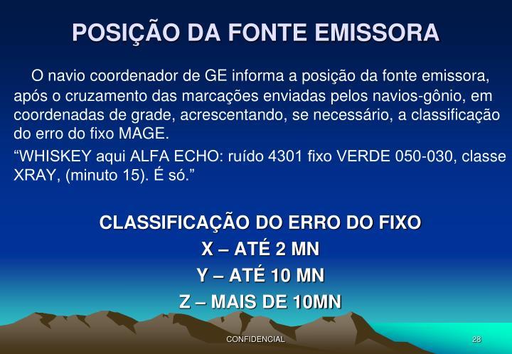 POSIÇÃO DA FONTE EMISSORA
