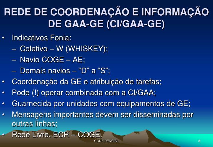 REDE DE COORDENAÇÃO E INFORMAÇÃO DE GAA-GE (CI/GAA-GE)