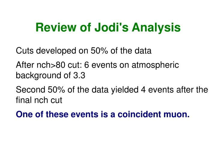 Review of Jodi's Analysis