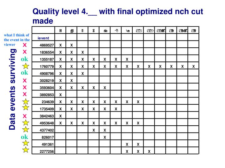 Quality level 4.__ with final optimized nch cut made