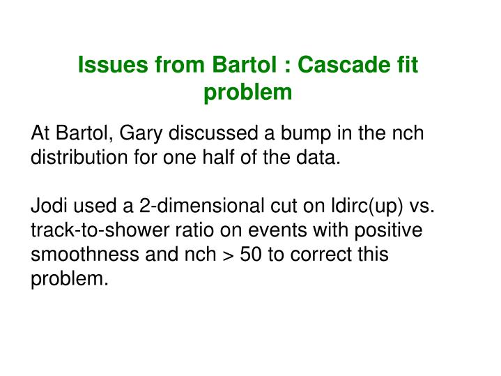 Issues from Bartol : Cascade fit problem