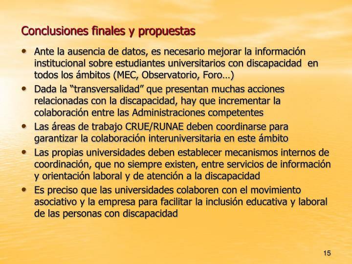 Conclusiones finales y propuestas