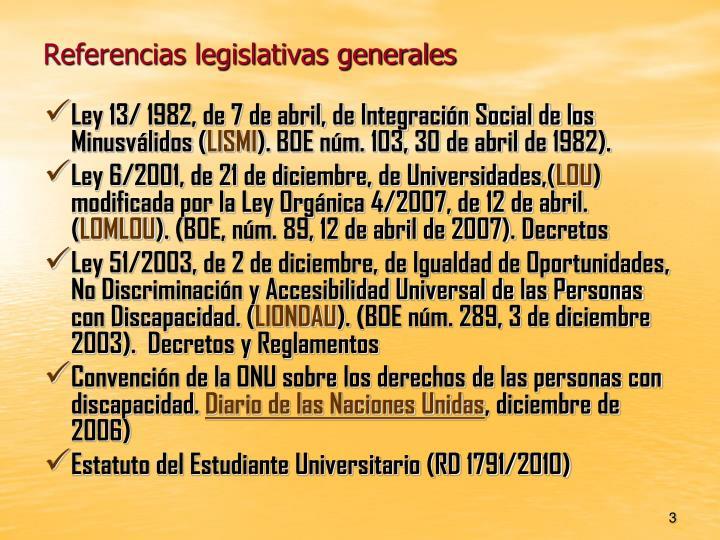Referencias legislativas generales