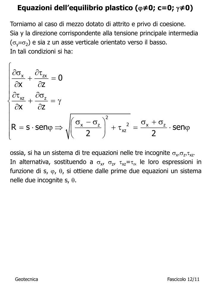 Equazioni dell'equilibrio plastico (