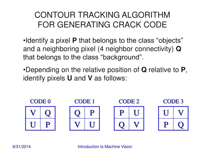 CONTOUR TRACKING ALGORITHM FOR GENERATING CRACK CODE