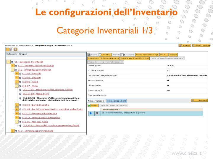 Le configurazioni dell'Inventario