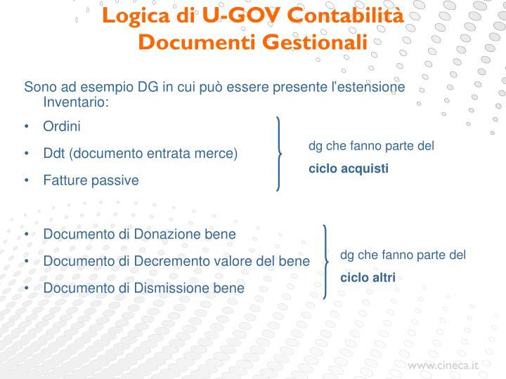 Sono ad esempio DG in cui può essere presente l'estensione Inventario: