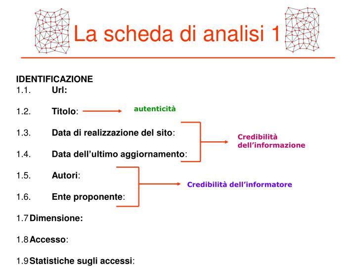 La scheda di analisi 1
