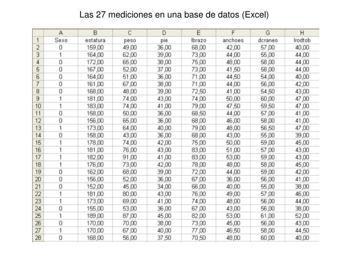 Las 27 mediciones en una base de datos (Excel)