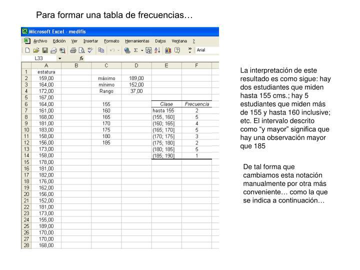 Para formar una tabla de frecuencias…