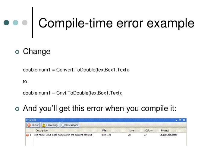 Compile-time error example