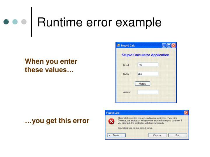 Runtime error example