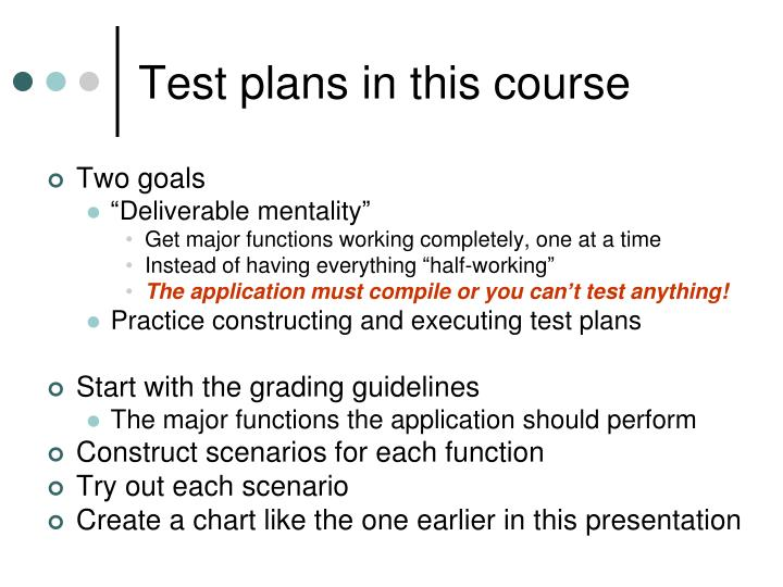 Test plans in this course