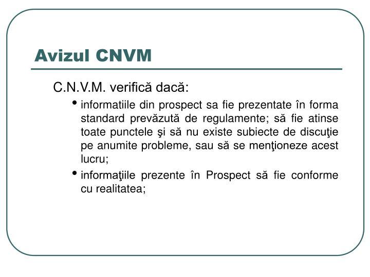 Avizul CNVM