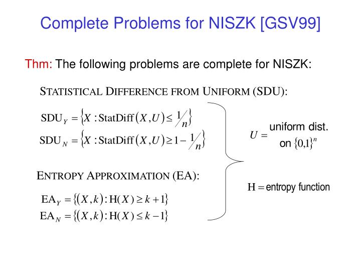 Complete Problems for NISZK [GSV99]