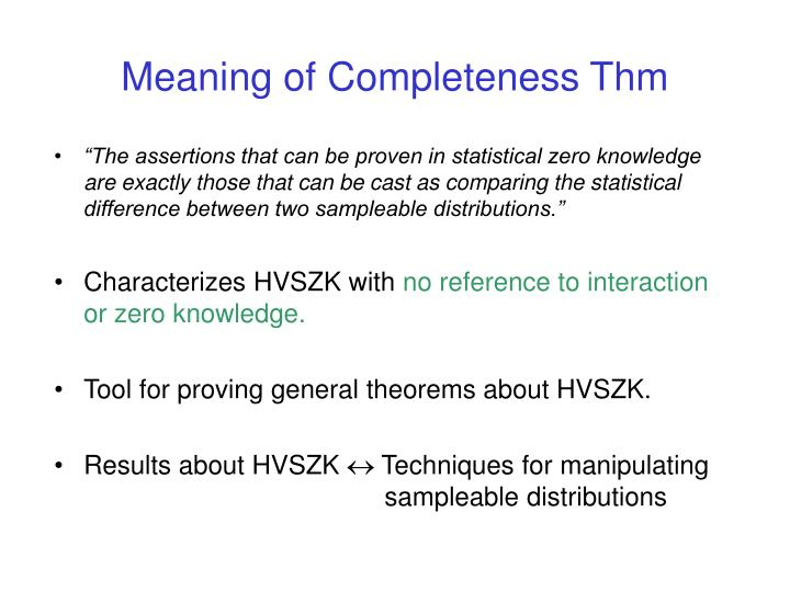 Meaning of Completeness Thm