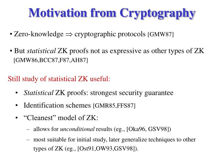 Motivation from Cryptography