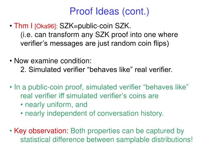 Proof Ideas (cont.)