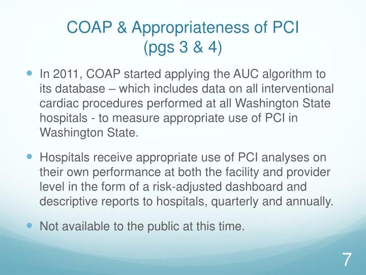 COAP & Appropriateness of PCI