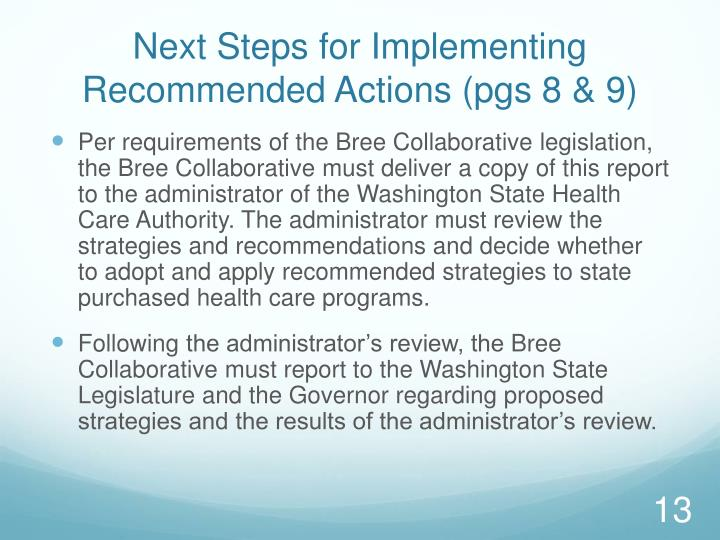 Next Steps for Implementing Recommended