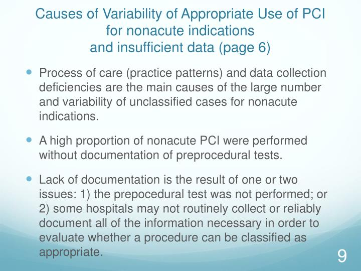 Causes of Variability of Appropriate Use of PCI for