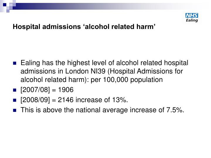 Hospital admissions alcohol related harm