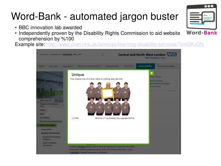 Word-Bank - automated jargon buster