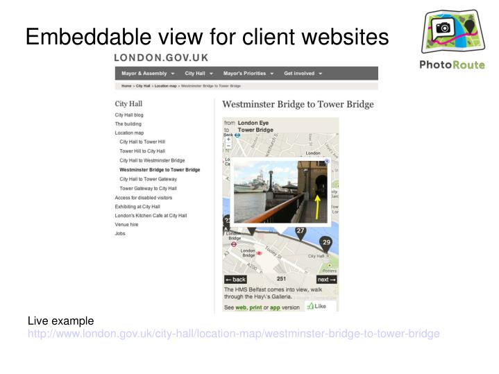 Embeddable view for client websites