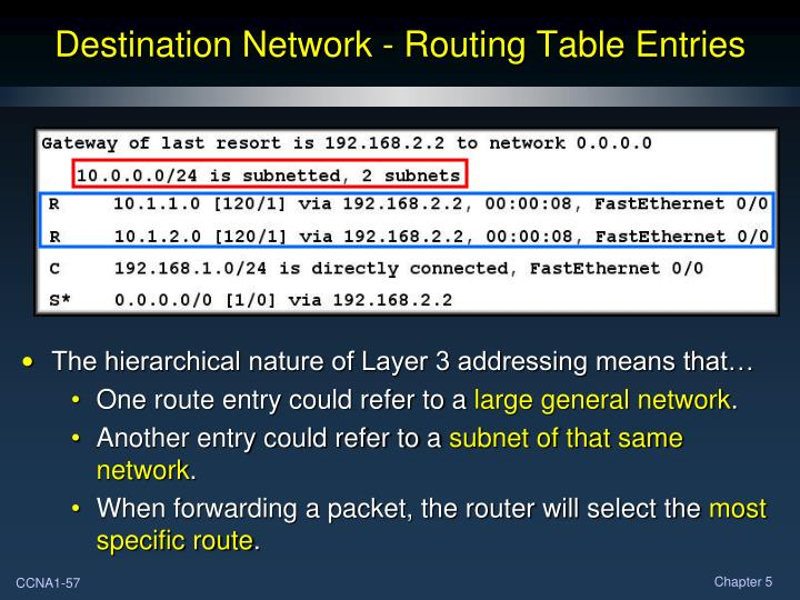 Destination Network - Routing Table Entries