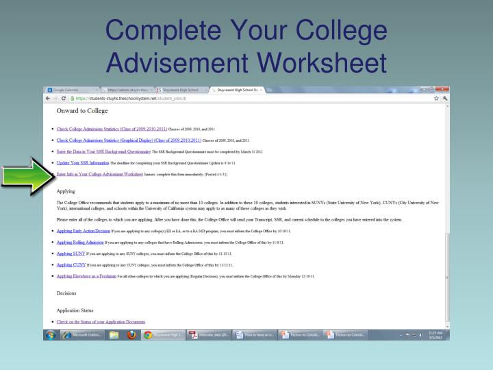 Complete Your College Advisement Worksheet