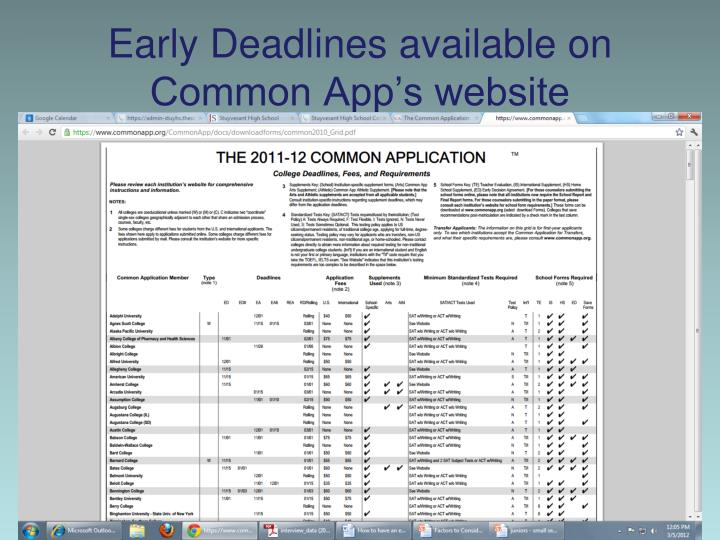 Early Deadlines available on Common App's website