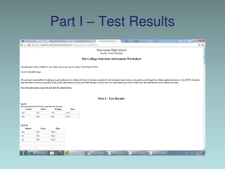 Part I – Test Results