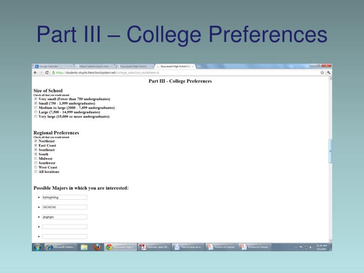 Part III – College Preferences