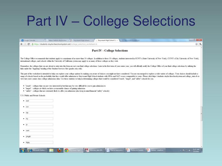 Part IV – College Selections