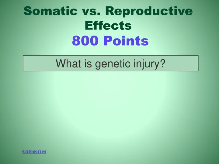 Somatic vs. Reproductive Effects