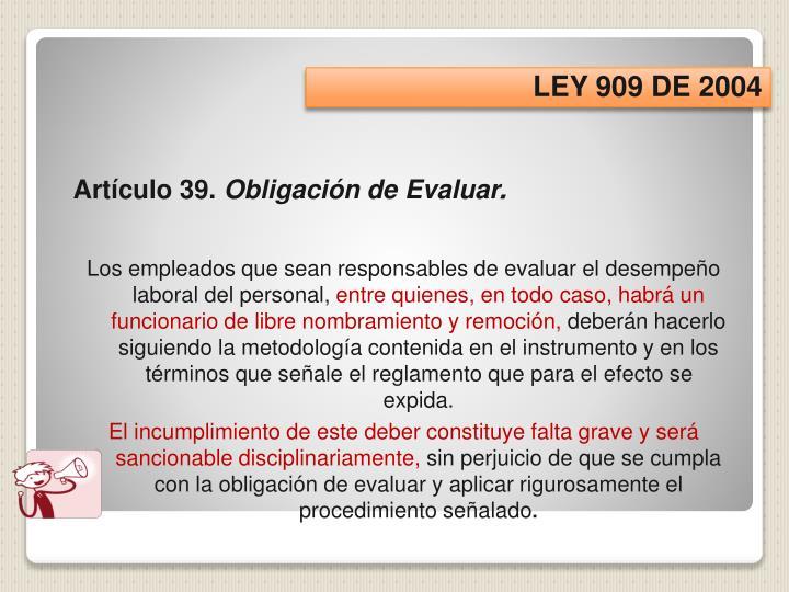 LEY 909 DE 2004