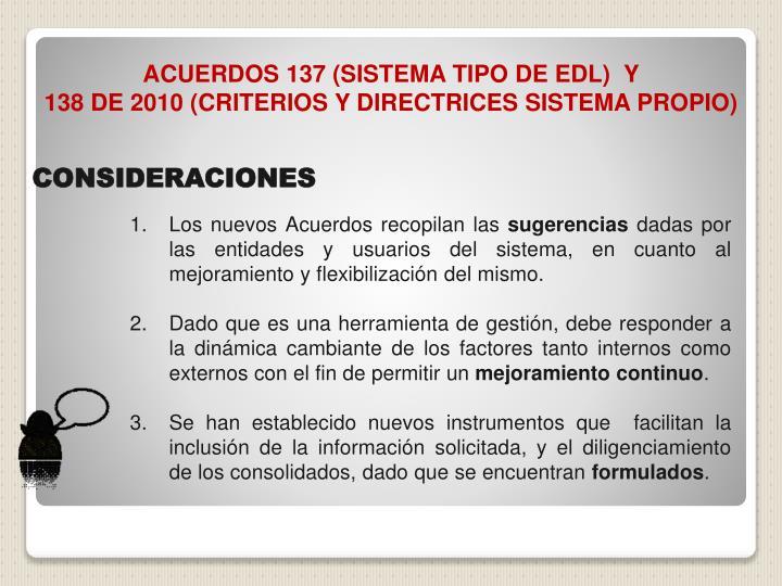 ACUERDOS 137 (SISTEMA TIPO DE EDL)  Y