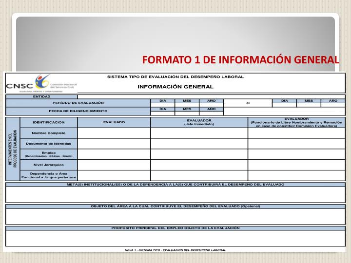 FORMATO 1 DE INFORMACIÓN GENERAL