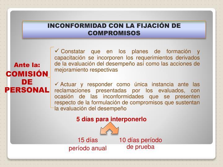 INCONFORMIDAD CON LA FIJACIÓN DE