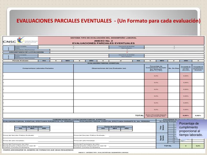 EVALUACIONES PARCIALES EVENTUALES  - (Un Formato para cada evaluación)